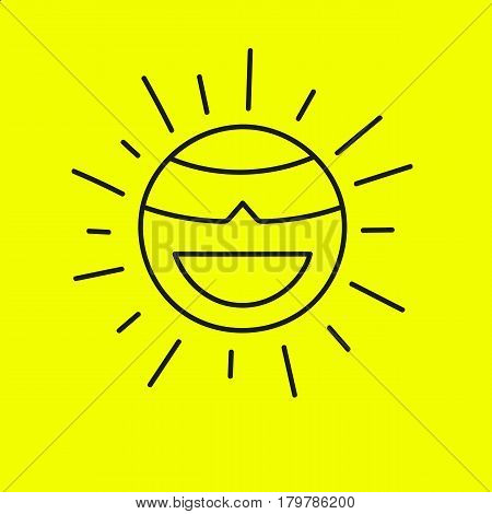 Happy line smiling sun in sunglasses. Yellow summer banner sale accessories. Funny outline smiley face, emoji, emoticon with rays. Vector illustration.