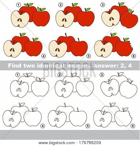The educational kid matching game for preschool kids with easy gaming level, he task is to find similar objects, to compare items and find two same Red Apples.