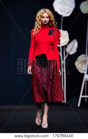 MOSCOW RUSSIA - MARCH 22 2017: Model walk runway for SERGEY SYSOEV catwalk at Autumn-Winter 2017-2018 Moscow Fashion Week.