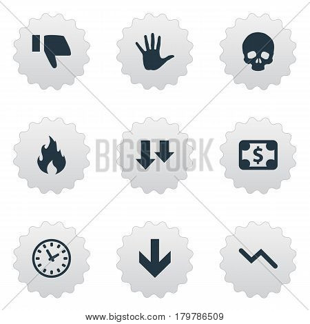 Vector Illustration Set Of Simple Impasse Icons. Elements Info Graph, Head Bone, Fire And Other Synonyms Time, Diagram And Money.