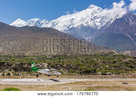 Jomsom, Nepal - May 14, 2016: Jomsom airport in Nepal - one of the most dangerous airports in the world.