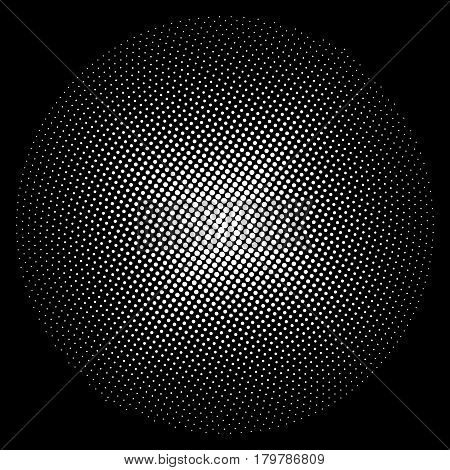 White Circle of Dots on a Black Background, Pop Art Concept ,Retro Style ,Black and White Vector Illustration