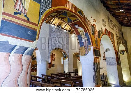 Boi Spain - March 29 2017:The paintings from Sant Joan in Boi make up what is considered one of the finest groups in Catalan Romanesque painting.Belongs to the UNESCO World Heritage Site.