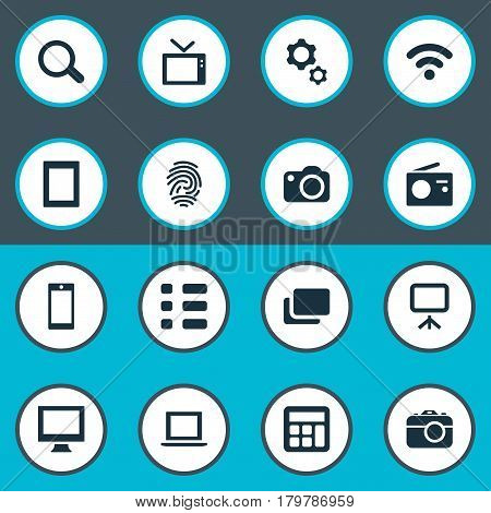 Vector Illustration Set Of Simple Digital Icons. Elements Touch Computer, Wireless Connection, Camera And Other Synonyms Magnifier, Tv And Tuner.