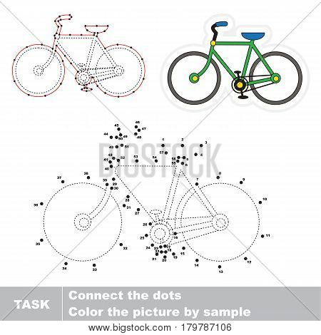 Bicycle. Dot to dot educational game for kids, task is to connect dots by numbers.