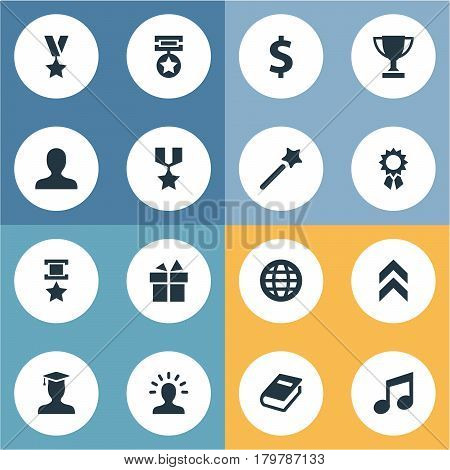 Vector Illustration Set Of Simple Awards Icons. Elements Victory, World, Avatar And Other Synonyms Conquering, Wand And Music.