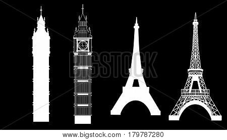 Big Ben and Eiffel Tower silhouettes vector icons set