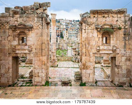 Jerash City Through Gateway Of Artemis Temple