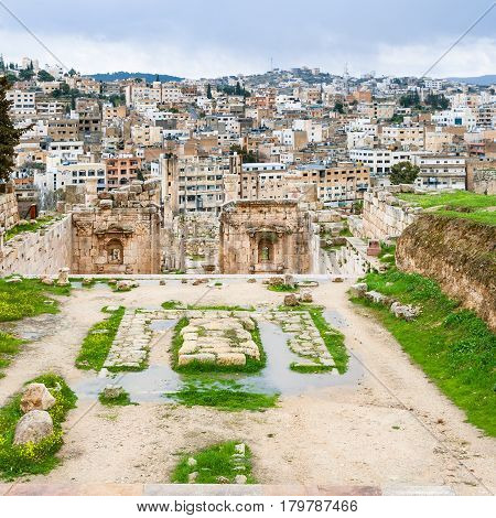 View Of Jerash City From Temple Of Artemis