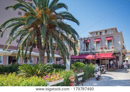 LEFKADA TOWN, GREECE JULY 17, 2014: Central street in Lefkada town, Ionian Islands, Greece