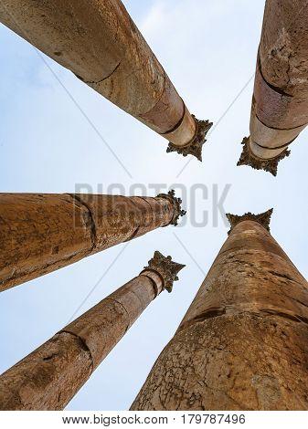 Corinthium Column Of Temple Of Artemis In Jerash