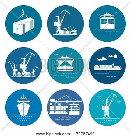 Ocean Freight Transportation Services ,Set of Marine Freight Transportation Icons,Vector Illustration