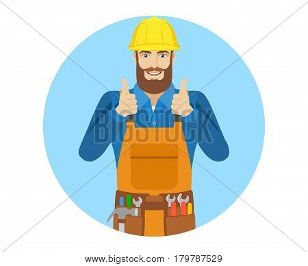 Worker showing thumb up. Portrait of worker in a flat style. Vector illustration.