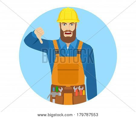 Worker showing thumb down gesture as rejection symbol. Portrait of worker in a flat style. Vector illustration.