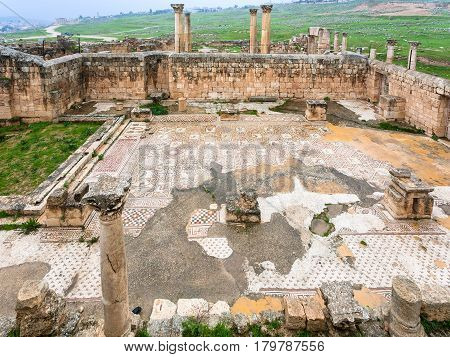 Ruin Of Ancient Christian Church In Jerash Town