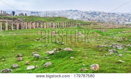 Cardo Maximus Street In Gerasa Town And Jerash