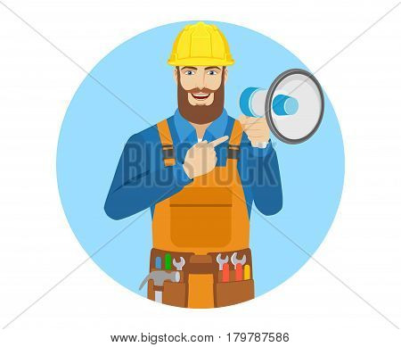 Worker pointing at the loudspeaker. Portrait of worker in a flat style. Vector illustration.