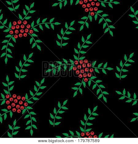 Seamless embroidery imitation pattern with rowan and green leaf. Embroidery vector background with ash berry for printing on fabric paper for scrapbook gift wrap.