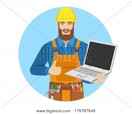 Worker with laptop notebook showing the thumb up. Portrait of worker in a flat style. Vector illustration.