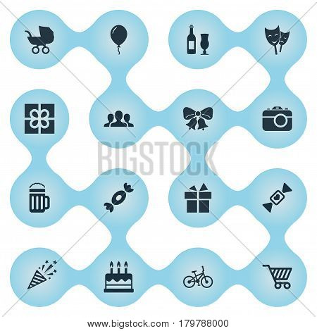 Vector Illustration Set Of Simple Holiday Icons. Elements Store Cart, Bicycle, Caramel And Other Synonyms Aerostat, Champagne And Sweet.