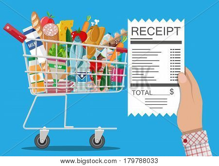 Hand with receipt. Shopping cart with food and drinks. Vector illustration in flat style