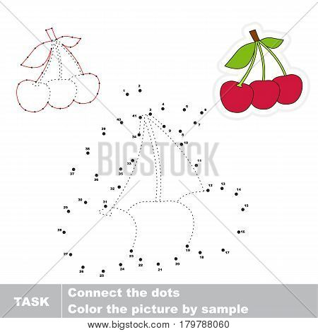 Three Red Cherries. Dot to dot educational game for kids, task is to connect dots by numbers.