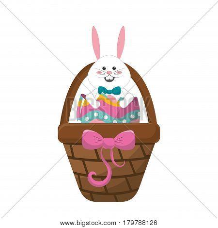 white rabbit inside egg and brown hamper, vector illustration