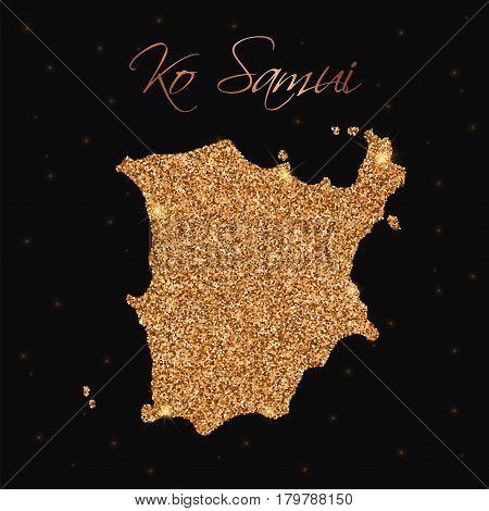 Ko Samui Map Filled With Golden Glitter. Luxurious Design Element, Vector Illustration.