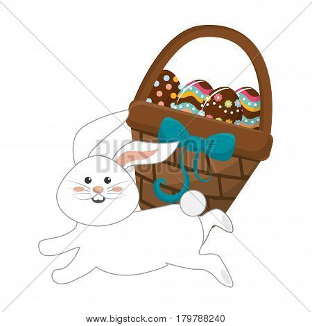 hamper with eggs inside and rabbit running, vector illustration