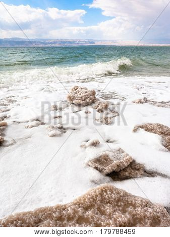 Pieces Of Crystalline Salt On Shore Of Dead Sea