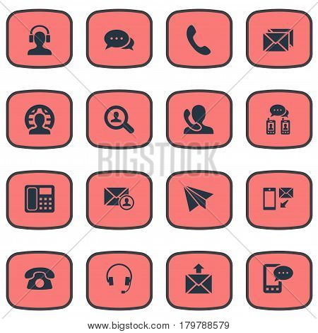 Vector Illustration Set Of Simple Connect Icons. Elements Epistle Author, Earpiece, Correspondence And Other Synonyms Job, Chat And Search.