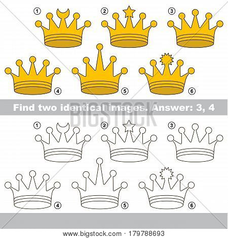 The educational kid matching game for preschool kids with easy gaming level, he task is to find similar objects, to compare items and find two same Gold Crowns.