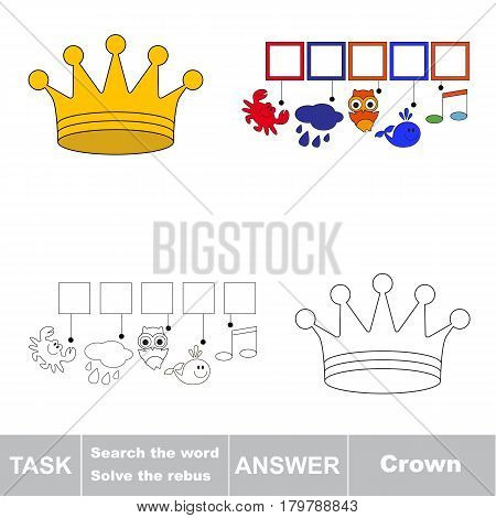 Educational puzzle game for kids. Find the hidden word Crown
