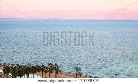Pink Dawn Over Dead Sea In Winter Morning