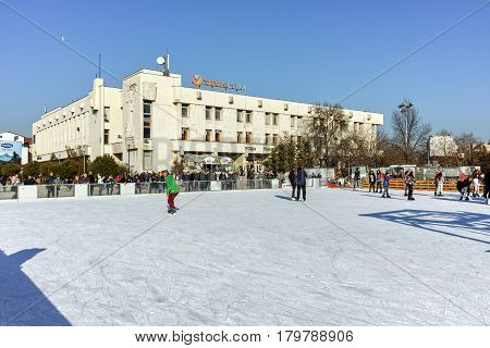 PLOVDIV, BULGARIA - JANUARY 2 2017: Tsentralen square in city of Plovdiv, Bulgaria