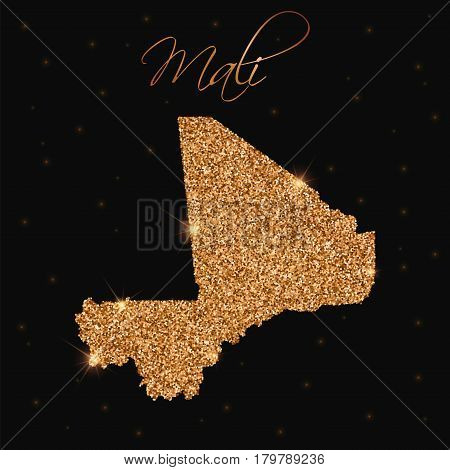 Mali Map Filled With Golden Glitter. Luxurious Design Element, Vector Illustration.