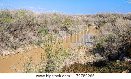 Jordan River In Holy Land Near Baptism Site