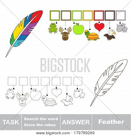 Educational puzzle game for kids. Find the hidden word Rainbow Feather