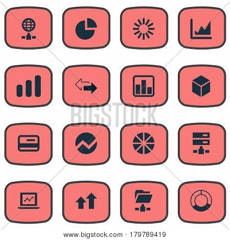 Vector Illustration Set Of Simple Analysis Icons. Elements Digital Documnet, Increase, Double Arrow And Other Synonyms Pie, Arrows Up And Document.