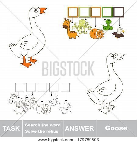 Educational puzzle game for kids. Find the hidden word White Goose
