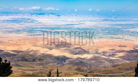 Above View Of Hills In Holy Land From Mount Nebo