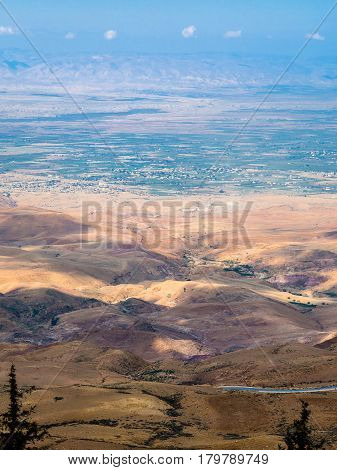 View Hills In Holy Land From Mount Nebo In Winter