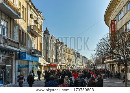 PLOVDIV, BULGARIA - JANUARY 2 2017: Knyaz Alexander I street in city of Plovdiv, Bulgaria