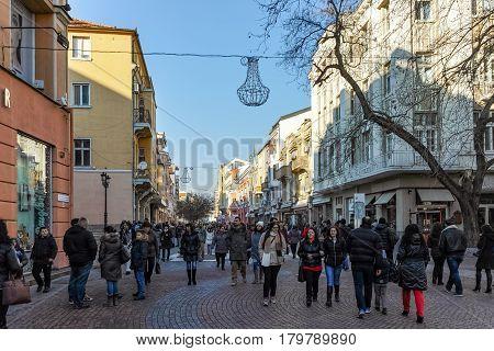 PLOVDIV, BULGARIA - JANUARY 2 2017: Knyaz Alexander I street in city of Plovdiv, Bulgaria