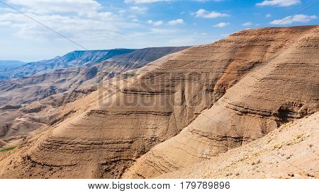 Sedimentary Mountain In Valley Of Wadi Mujib River