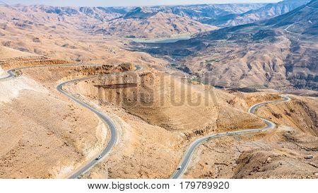 View Of King Highway In Mountain Near Al Mujib Dam
