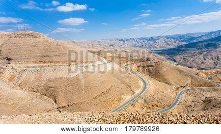 King Highway In Mountain Near Al Mujib Dam