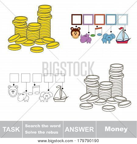 Educational puzzle game for kids. Find the hidden word Money