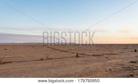 Flat Land Along Desert Highway (road 15) In Jordan