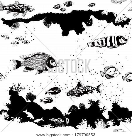 Seamless Vector Pattern With Fish And Underwater Silhouettes. Black And White